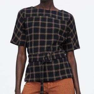 NWT Zara Plaid Checkered Belt Blouse
